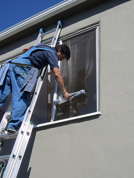 Lint free, extremely fine microfiber sleeves are used to apply our window cleaning solution.